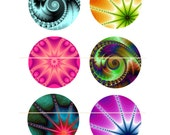 FRACTAL BURSTS Collage Sheet...30mm Circles for your Jewelry, Glass Tiles, Pendants, Magnets, Wood Discs