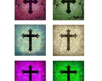 ANTIQUED CROSSES Collage Sheet... 1 Inch Squares for your Jewelry, Glass Tiles, Pendants, Tags, Cards, Magnets, Stickers, Wood Discs