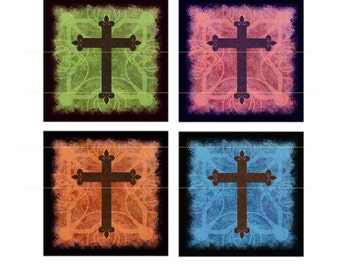 CROSS FILIGREE TILES Collage Sheet... 1 Inch Squares for your Jewelry, Glass Tiles, Pendants, Tags, Cards, Magnets, Stickers, Wood Discs