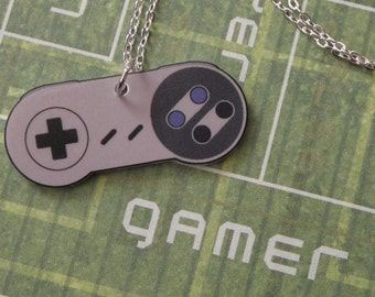 GIRL GAMER Super Nintendo Video Game Controller Necklace