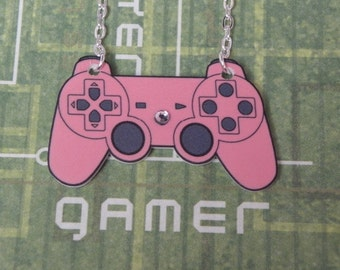 GIRL GAMER Pink Playstation Video Game Controller Necklace - Geeky Video Games Jewellery - Gaming Geek Jewelry Gifts