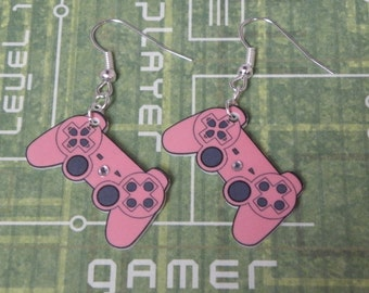 FAULTY STOCK - Girl Gamer Pink Playstation Video Game Controller Earrings