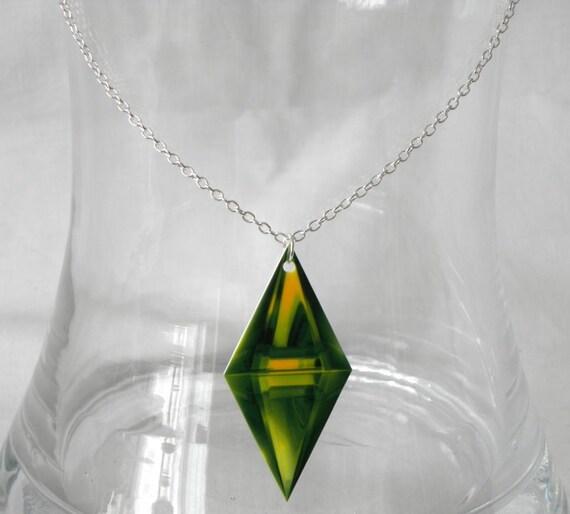 Sims Green Diamond Logo Necklace