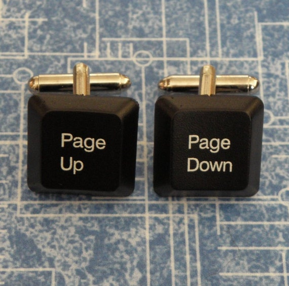 COMPUTER GEEK Black Page Up & Page Down Computer Key Cufflinks