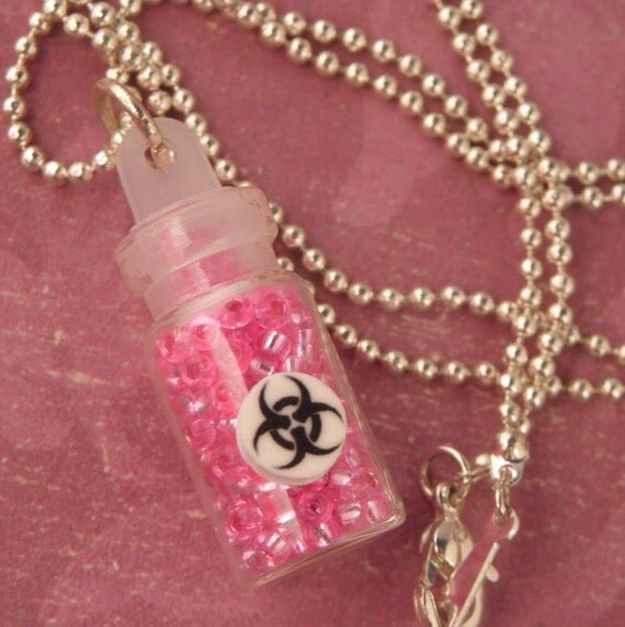 BIOHAZARD Bottle Of Neon Pink Biohazard Necklace