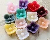 7 mm Little Resin Sakura Blossom Flower Cabochons of Assorted Colours