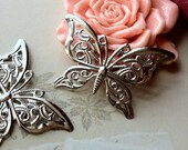 41 x 27 mm Silver Plated Butterfly Charm Pendants (.tg).