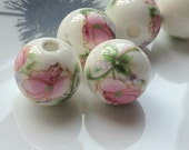"""12 mm Pink Flower """"Chinese Painting"""" Porcelain Beads (.nm)(12)"""