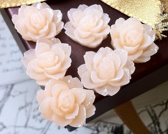 19 mm x 18 mm Resin Peony Flower Cabochons of Various Colors (.am)