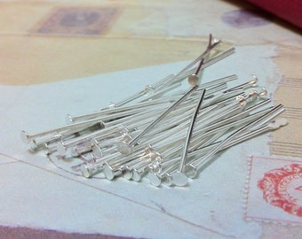 20 mm Sliver Plated Headpin Findings. (.mmsg)