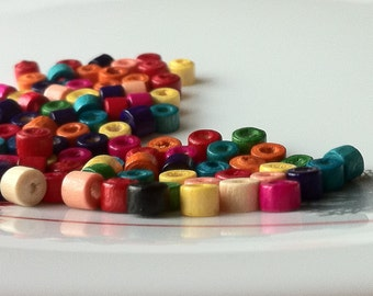 4 x 5 mm Assorted Colour Mini Wooden Beads
