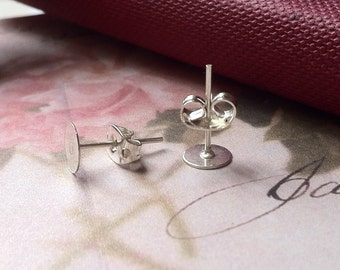 6 mm Silver Plated Earring Posts With Earring Stoppers (.ma)