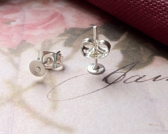 4 mm Silver Plated Earring Posts With Earring Stoppers (.ms)