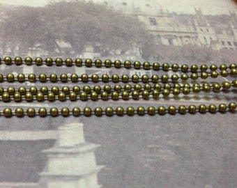 2 Meters of 2.4 mm Antiqued Bronze Ball Chain (.ng)