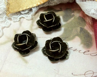 15 x 5 mm Antiqued Bronze Rose Flower Findings (.um).
