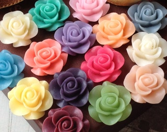 10 Pairs of 21 mm Rose Resin Flower Cabochons of Assorted Colour (.nm)