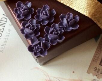 12 mm Dark Purple Orchid Resin Flower Cabochons  (.sg)
