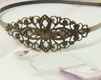 150 x 5 mm Antiqued Bronze Head Bands with Filigree Setting.