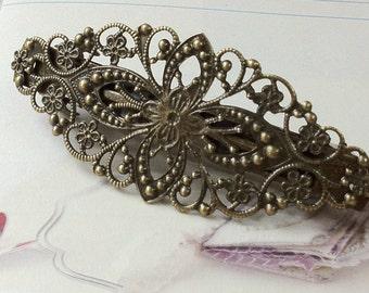 80 x 35 mm Handmade French Barrette Antique Bronze Hair Clip