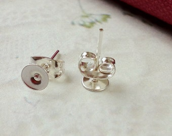 5 mm Silver Plated Earring Posts With Earring Stoppers (.ms)