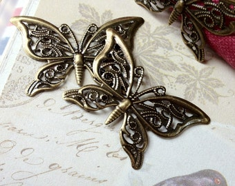 41 x 27 mm Antiqued Bronze Butterfly Charm Finding (.tg).