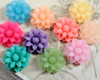 12 mm Little Daisy Chrysanthemum Resin Flower Cabochons of Assorted Color (.sm)