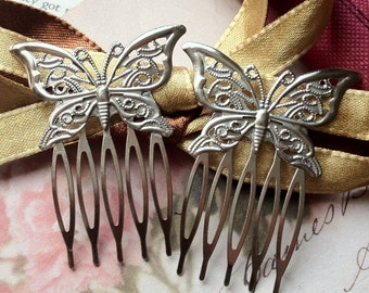 42mm x 53mm Silver Tone Comb Finding with Butterfly Setting