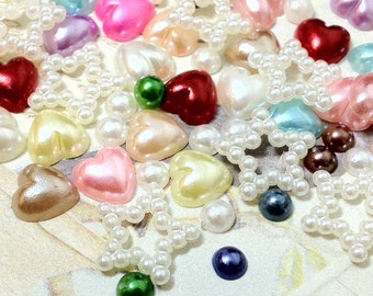Mixed Color Pearlized Flat Back Pearl Cabochons (.mmss)