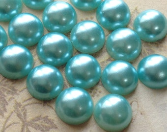 6 mm Lake Blue Colour Flat Back Pearl Cabochons (.mmnm)