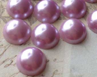 6 mm Light Purple Colour Flat Back Pearl Cabochons (.mmnm)