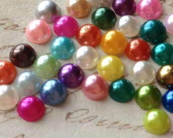 4 mm Assorted Colour Flat Back Pearl Cabochons (.au)