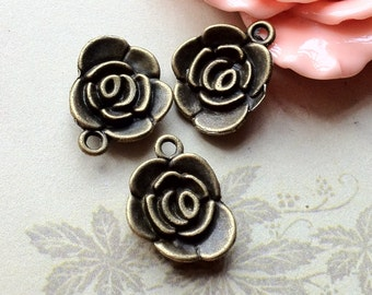 18 x 14 mm Antique Bronze Rose Charm Pendants (.am)