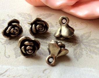 8 mm Antique Bronze Rose Flower Charm Drop Pendant  (.tg)