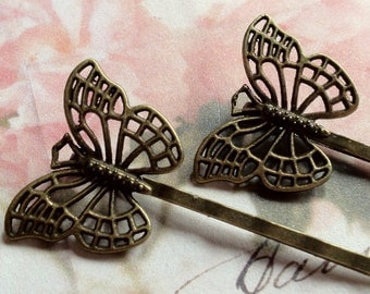50 mm Handmade Antique Bronze 26 mm Butterfly Setting Bobby Pins.