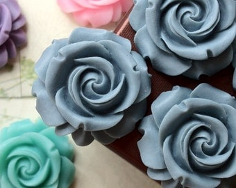 SPECIAL OFFER --- 29 mm Grey Color Cabbage Rose Resin Flower (.cg)