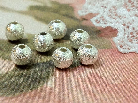 4 mm Silver Plated Round Stardust Metal Bead (.mg)