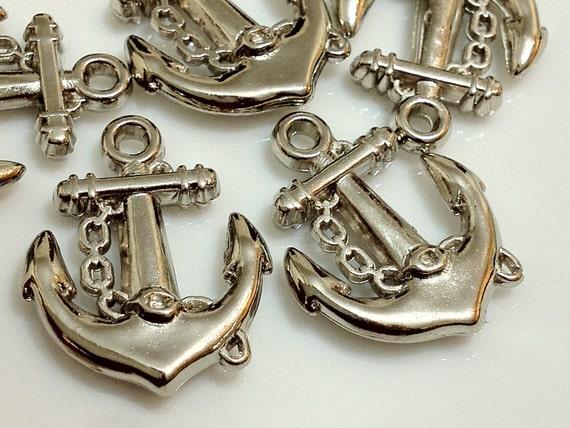 20 x 16 mm Silver Tone Cute Acrylic Anchors (.mccc)