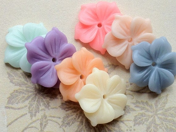7 Pairs of 17 mm Assorted Colour Resin Flower Cabochons