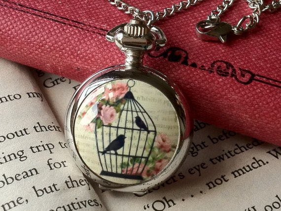 1. 1 Piece of  30 mm Antiqued Silver Round Mirror Bird Cage & Pink Rose Painting Charm Pocket Watch Quartz Watch Necklace (S28)(ts.g)