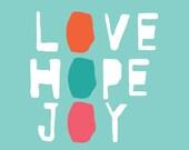 Love Hope Joy (Turquoise ) -- FREE Worldwide Shipping