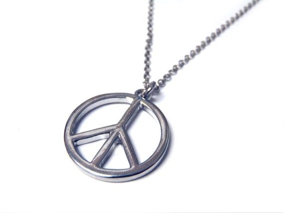 Silver Peace Sign Necklace - Zen, Hippy, Love, Calm, Dainty, Small, Elegant