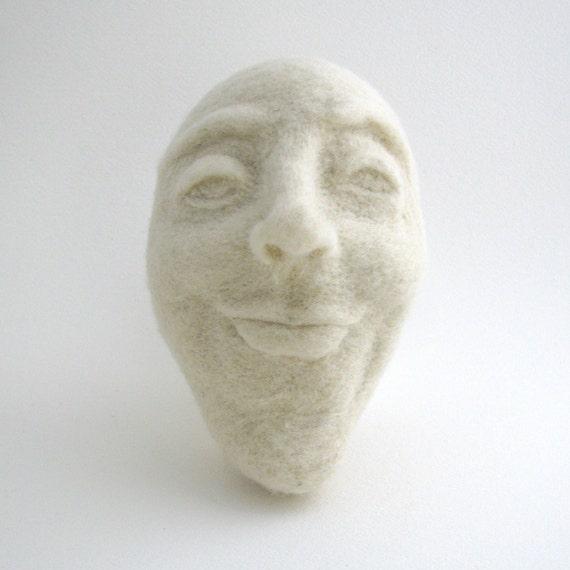 Needle felted moony face - Chinny Chin Chin