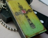 Domino Tile Pendant-Magnet-Wine Glass Charm-Key Chain-Renaissance Rose Cross-Green  (R15)  Buy 3 and Get 1 Free on all Domino Tiles