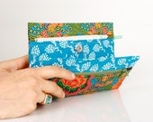 Make up bag made from Turquoise Indonesian fabric