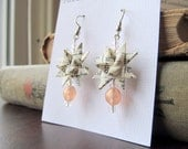 Recycled Book Paper Star Earrings - Romantic Pink