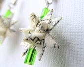 Recycled Book Paper Star Earrings - Bright Green