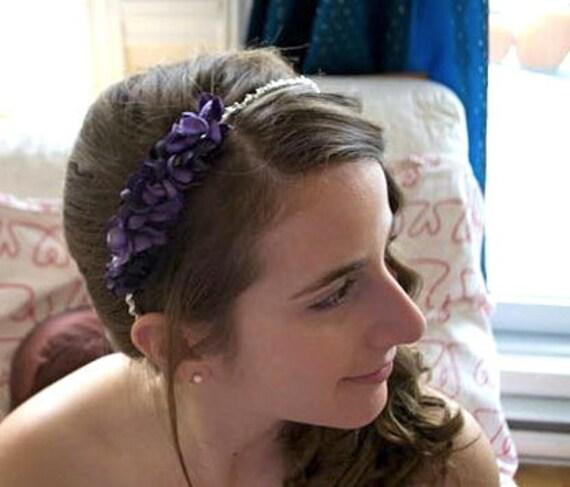 Violet Blossom Headband, Flower Girl Crown, Bridal Crown, Hair Piece