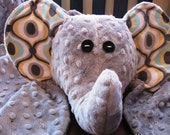Elephant Soft & Cuddle Blanket / Toy - Michael Miller Flannel and Silver Minky