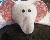 Elephant Soft & Cuddle Blanket / Toy - White minky with Michael Miller Flannel