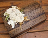 Custom Wedding Guest Book in One Of Our Unique Rustic Boxes and Hand Made Roses.